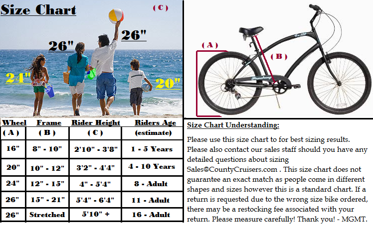Beach Cruisers Sales  Size Chart  Buy Beach Cruiser Online  Bikes For Sale