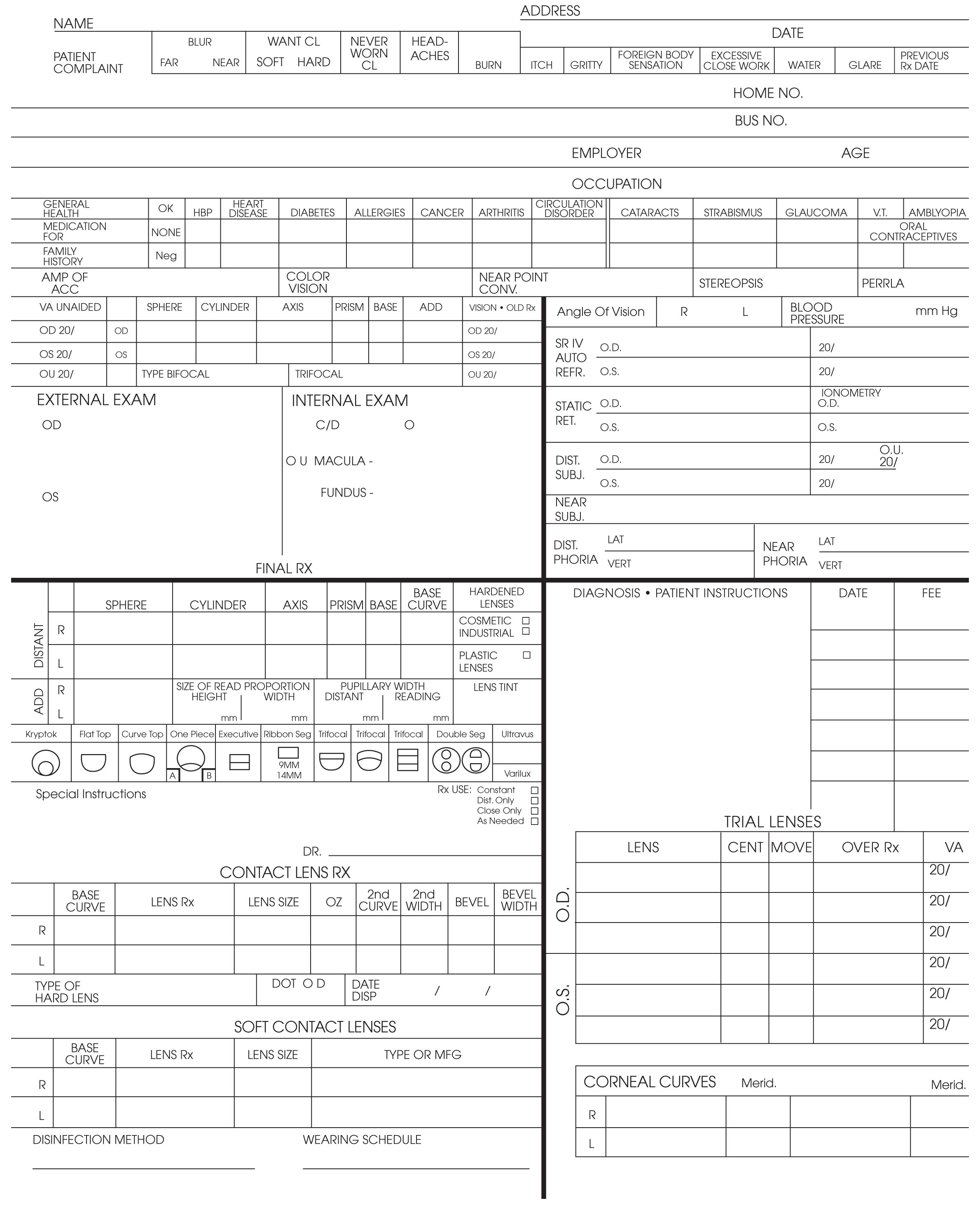 basic eye exam form sheets pictures to pin on pinterest With ophthalmology exam template