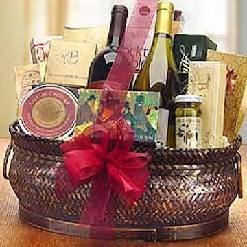 Two bottles of select wines from award winning vineyards are the focus of this basket.