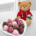 Chocolate Covered Strawberries with Hugs Bear