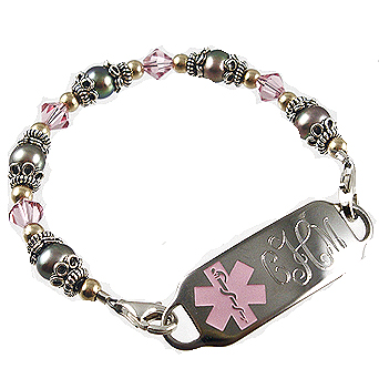 Medical alert bracelets and stylish jewelry custom engraved for pretty in pink grey medical id bracelets mozeypictures Images