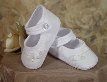 Girls Cotton Batiste Christening Shoe
