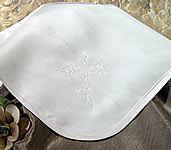 Silk Dupioni Blanket W/Embroidered Cross