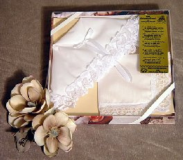 Christening Bonnet to Trousseau Hankie Gift Set W/1Inch Lace