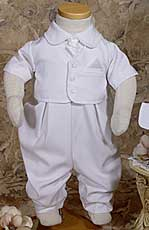 Vested Short Sleeve Christening Coverall