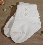 White Nylon Anklet Sock W/Buttons