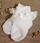 White Nylon Anklet Christening Sock W/Lace & Pearled Bow