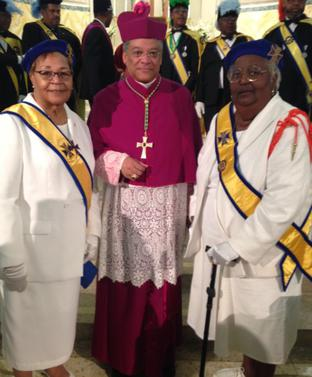 GL's Gatling and Williams with Bishop Perry at Fr. Tolton Mass on May 15, 2017