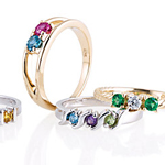 Personalised Rings with Birthstones for Mum