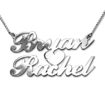 Sterling silver Name Necklace with two names and heart