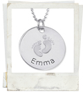 baby footprints sterling silver mother necklace