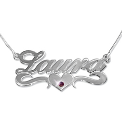 sterling silver birthstone Name Necklace
