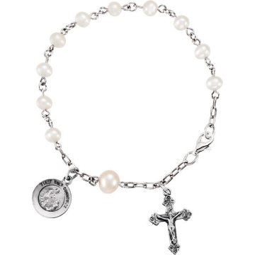 First Communion Rosary Bracelet with Pearls