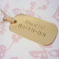 hand stamped gold filled dog tag necklace