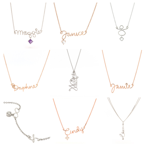 18kt gold name necklaces - let us know what you want!