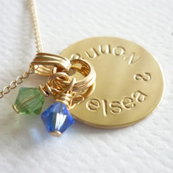 hand stamped gold filled pendant - round 14mm
