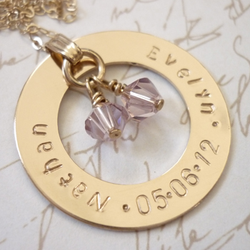 gold hand stamped washer necklace with birthstones