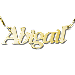 gold Name Necklace serif italics
