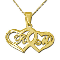 gold two hearts initial pendant