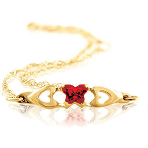 10kt gold butterfly birthstone bracelet