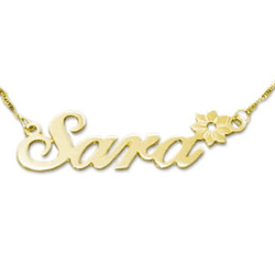 gold Name Necklace - Sara with Flower