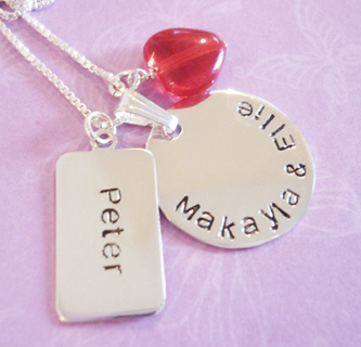 hand stamped family love necklace