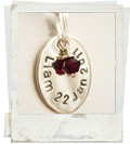 hand stamped silver penant - oval