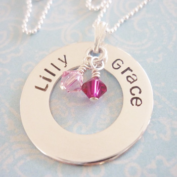 sterling silver hand stamped washer necklace with birthstones