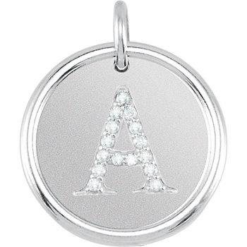 sterling silver initial pendant with diamonds
