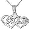 sterling silver two hearts initial pendant