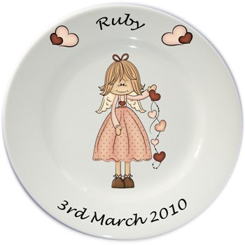 Child's personalised plate - Girls Ruby Angel