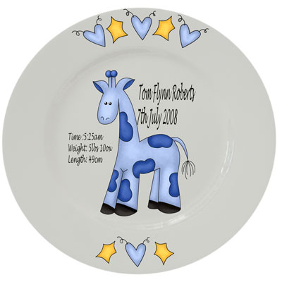 Baby personalised plate - blue