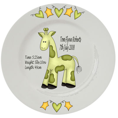 Baby personalised plate - green giraffe