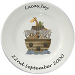 Child's personalised plate - boys Noah's Ark