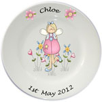 Child's personalised plate - Girls Pink Fairy