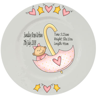 Baby personalised plate - pink