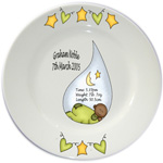 Baby personalised plate - green raindrop
