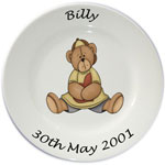 Childs personalised plate - boys sitting teddy