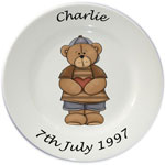 Childs personalised plate - boys standing teddy