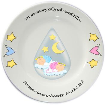 Personalised Baby Memorial Plate - Twins or Single