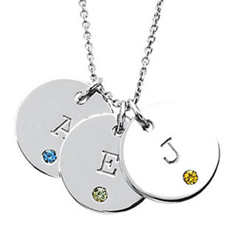 posh mommy initial disc pendant with birthstone