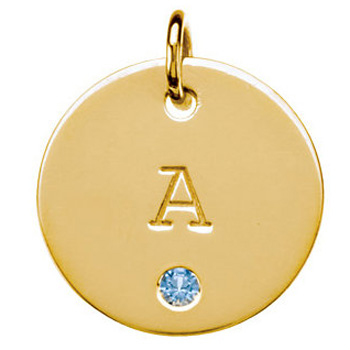 posh mommy gold initial disc pendant with birthstone