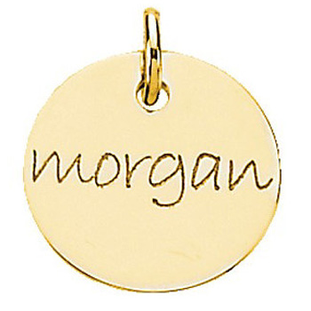 posh mommy gold 19mm engraved disc pendant