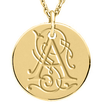 posh mommy 14kt gold round vintage initial pendant