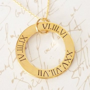 Roman Numeral Pendant - gold, personalised