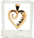 Swirl Heart Birthstone pendant for Mum