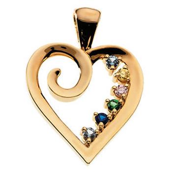 Swirl Heart Birthstone pendant for Mum