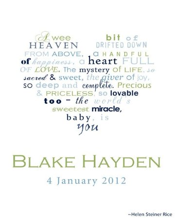 Baby Boy Personalised Framed Word Art Print