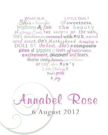 Baby Girl Personalised Framed Word Art Print