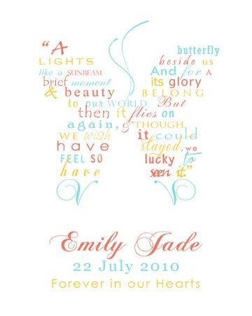 Butterfly Baby Memorial Personalised Framed Word Art Print